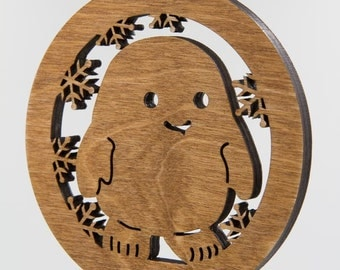 Dr Who Adipose Christmas Ornament Wooden Tree Decoration - Doctor Who Adipose Laser Cut Carved Ornament