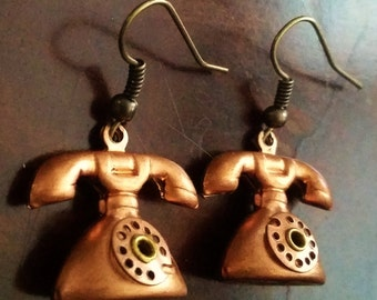 Bronze Telephone Earrings