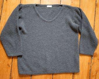Vtg Boxy Grey Sweater