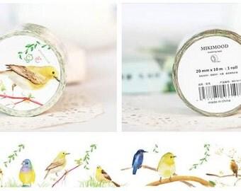 washi tape , masking tape (flowers and birds) 30mmx10m WT0189-MD1017