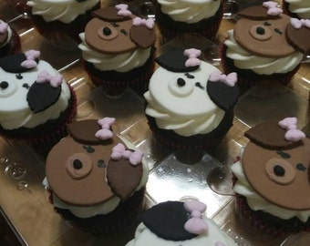 Puppy cupcake toppers SET of 12, choose your color, boy or girl