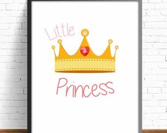 princess poster, kids room decor, nursery decor, nursery room, baby room, baby decor, princess illustration, physical illustration