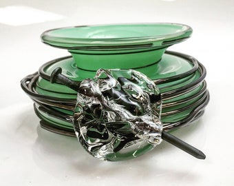 Spiral Squat Vase in Green with Nail Attachment