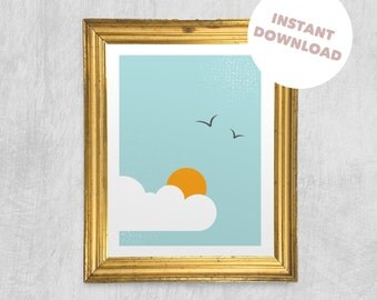 Printable Wall Art - Sunshine in the Clouds, Digital Download, Colourful Print, Children's Wall Art