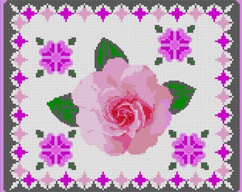 Lapghan Pattern, Tunisian Crochet Color Chart Pattern Wild Irish Rose, Crochet Pattern, Rose, Crochet Blanket Instructions, Color Graph Rose