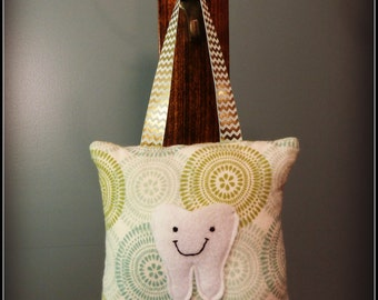 Teal and Green Stamps Tooth Fairy Pillow