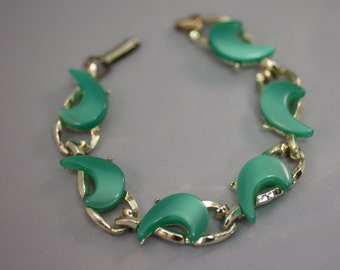 Green and Silver Crescent Bracelet Unmarked