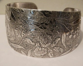 Vintage Stainless Steel Floral Cuff Bracelet.