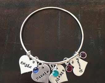 Custom Hand Stamped Bangle Bracelet Names and Birthstones Mother Grandmother Friend