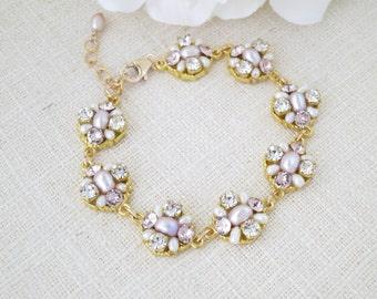 Blush and gold wedding bracelet, Swarovski link bridal bracelet, Pink freshwater pearl bracelet