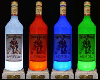 Captain Morgan Rum Multicolour LED Bottle Lamp. Bottle Light, Gifts For Men, Rum Gifts, Handmade Light, Bar Lighting. DiamondLiquorLights