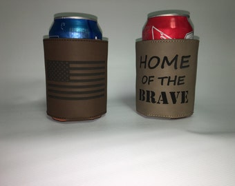 2 Personalized Leather Beverage Holders - Choose your color!