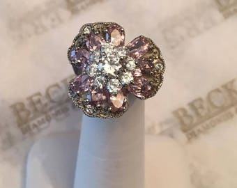 Vintage sterling silver  Pink & Clear CZ Clover Flower Shaped Ring, size 7.25