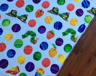 ERIC CARLE crib sheets // 100% cotton // children's bedding, children's book Hungry Hungry Caterpillar // nursery decor / baby and toddler