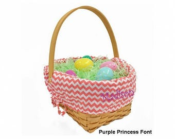 Personalized Woodchip Easter Basket - Coral Chevron, Large