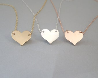 Heart necklace Engraved heart Personalized Jewelry Gold Fill, Sterling Silver or Rose Gold Fill, name necklace,gift for he