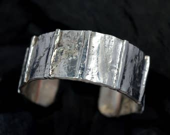 sterling silver bracelet,wide silver cuff bracelet, silver 925 bracelet, ,rustic,unique,anniversary gift,metalsmith, handforged,wedding