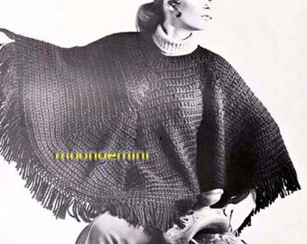 Crochet Poncho Easy Double Crochet Pattern PDF Vintage 60s Retro Hippie Girl