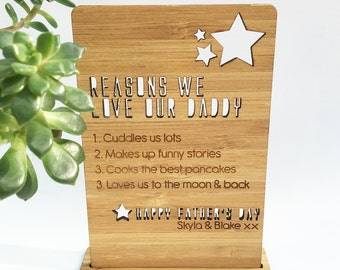 Father's Day Personalised Bamboo Plaque And Stand