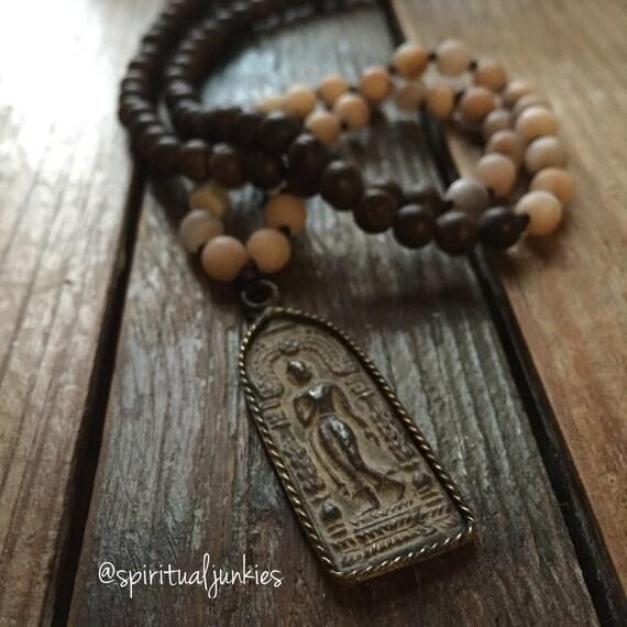 108 Bead Partially Handknotted Agarwood, Matte Sunstone + Walking Buddha Spiritual Junkies Yoga and Meditation Mini Mala (6 mm)