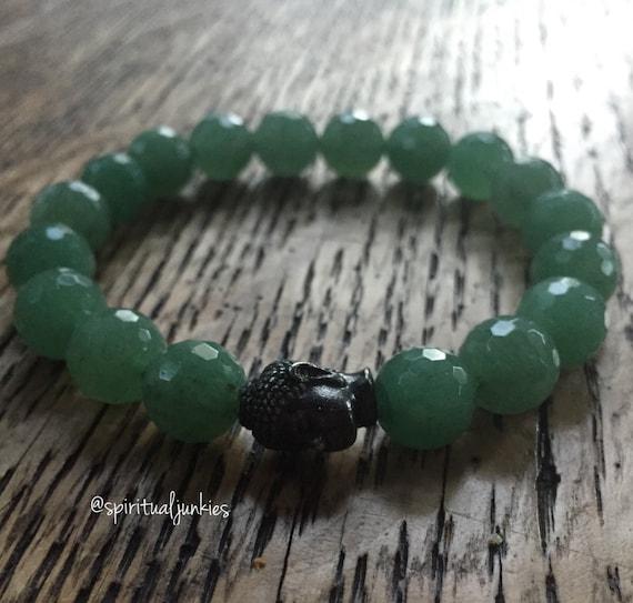 Stackable Chunky 10 mm Aventurine + Black Oxide Buddha Yoga and Meditation Bracelet