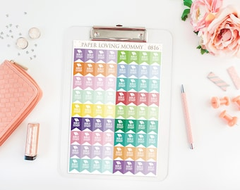 72 Bible Study Stickers | Flag Stickers | Planner Stickers designed for use with the Erin Condren Life Planner | 0816