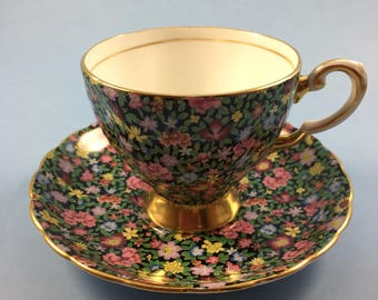 Tuscan fine bone china teacup chintz flowers made in england