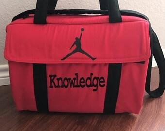 Custom handmade diaper bag Michael Jordan red and black