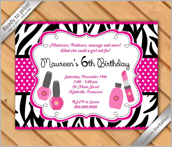 50 OFF SALE Spa Party Invitations zebra for Girls Makeover or – Printable Spa Party Invitations