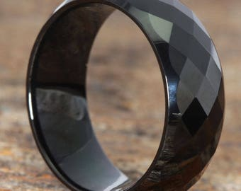 9mm BlackTungsten Ring for Men, Black Wedding Band Ring, Facet Wedding Band with Comfort Fit, Diamond Cut, Custom Engraveable,Mens Ring