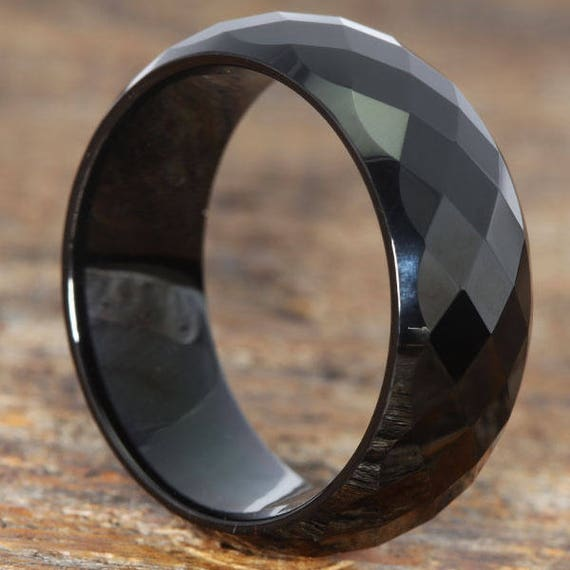 9mm blacktungsten ring for men black wedding band ring facet wedding band with comfort - Black Wedding Rings For Men