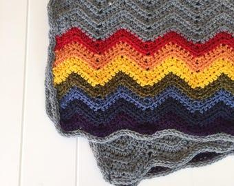 Rainbow Baby Blanket, Crochet Baby Afghan, Rainbow Baby, Rainbow Nursery Decor, Baby Shower Gift, Gender Neutral Baby, Small Blanket