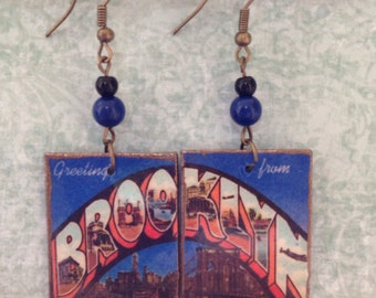 Brooklyn New York Earrings, Postcard Earrings, NYC earrings, up-cycled, decoupage