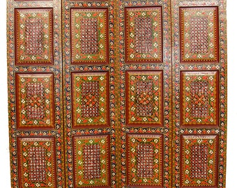 orient vintage wooden Screen room divider partition double-sided Relief miniature painting from Afghanistan MGL