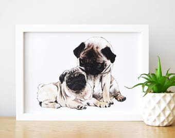 DOG ART,  pug wall print, pug illustration, pug lovers gifts, cute pug gifts, pug wall art, pugs, dog gifts for women, pug lover, pug print