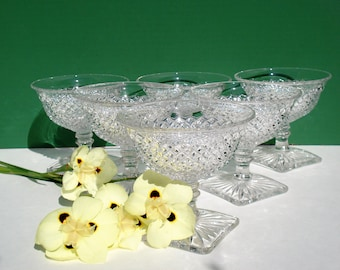 SALE - Set of 6 Sherbets - Clear English Hobnail by Westmoreland