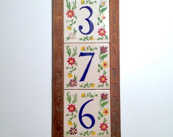 SALE! Three Vintage Hand-Painted Mexican Floral House Number Tiles in Wooden Address Plaque / Plate / Frame - 3 - 7 - 6