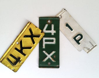Vintage Metal Tags . Industrial . License Plate Tabs . Metal Letter Tags . Metal Number Plates . Red Yellow White Black . DIY Supply .