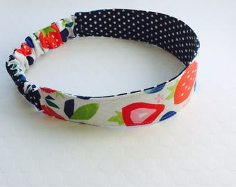 Strawberry headband, Cloth Headband, Reversible Headband, Fabric Headband Reversible, Toddler Headband, Girls Headband, Women's Headband