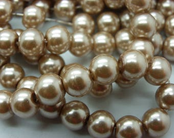 100 beads 8 mm beige Pearly sand