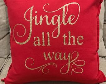 Jingle all the way Christmas pillow case, christmas gift, christmas decor