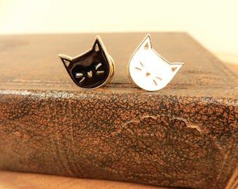 Cat Pin Badge, Enamel Pin, Black Cat, White Cat Face