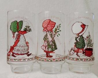 Hollie Hobby Christmas Vintage Coca Cola Glasses