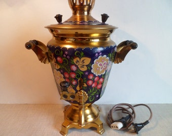 Soviet Russian Samovar Hand Painted Electric Samovar. Metal Tea Pot . Made in the USSR in 1991.