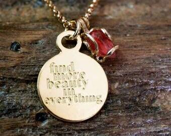 Gold pink tourmalin necklace - Idan Raichel's lyrics necklace - Women empowerment necklace - Motivational pemdant