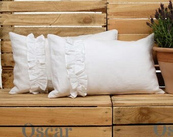 Linen Cushion Cover, Linen Pillow Cover, Cushion Cover, Decorative Pillow. Ruffled Pillow Cover, Throw Pillow, Ruffled Linen, Shabby Chic!