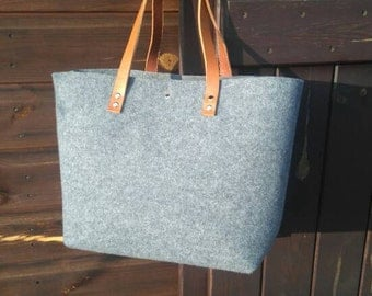 Grey felt tote bag, Felt Bag, Large Tote, For Shopping, Shopper Bag, Leather Handles, Tote Bag, Tote Felt, shoulder bag, Handbag, book bag