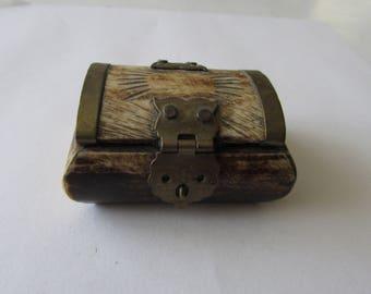Vintage Horn & Brass Trinket Box Jewelry