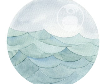 Art Print Watercoloredwaves 10 - Watercolour Aquarell Art - Waves and Ocean and Water and Horizon and salty air - Free your mind