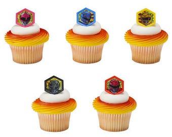Power Rangers Cupcake Decorations Morphinominal Cupcake Rings Set of 10